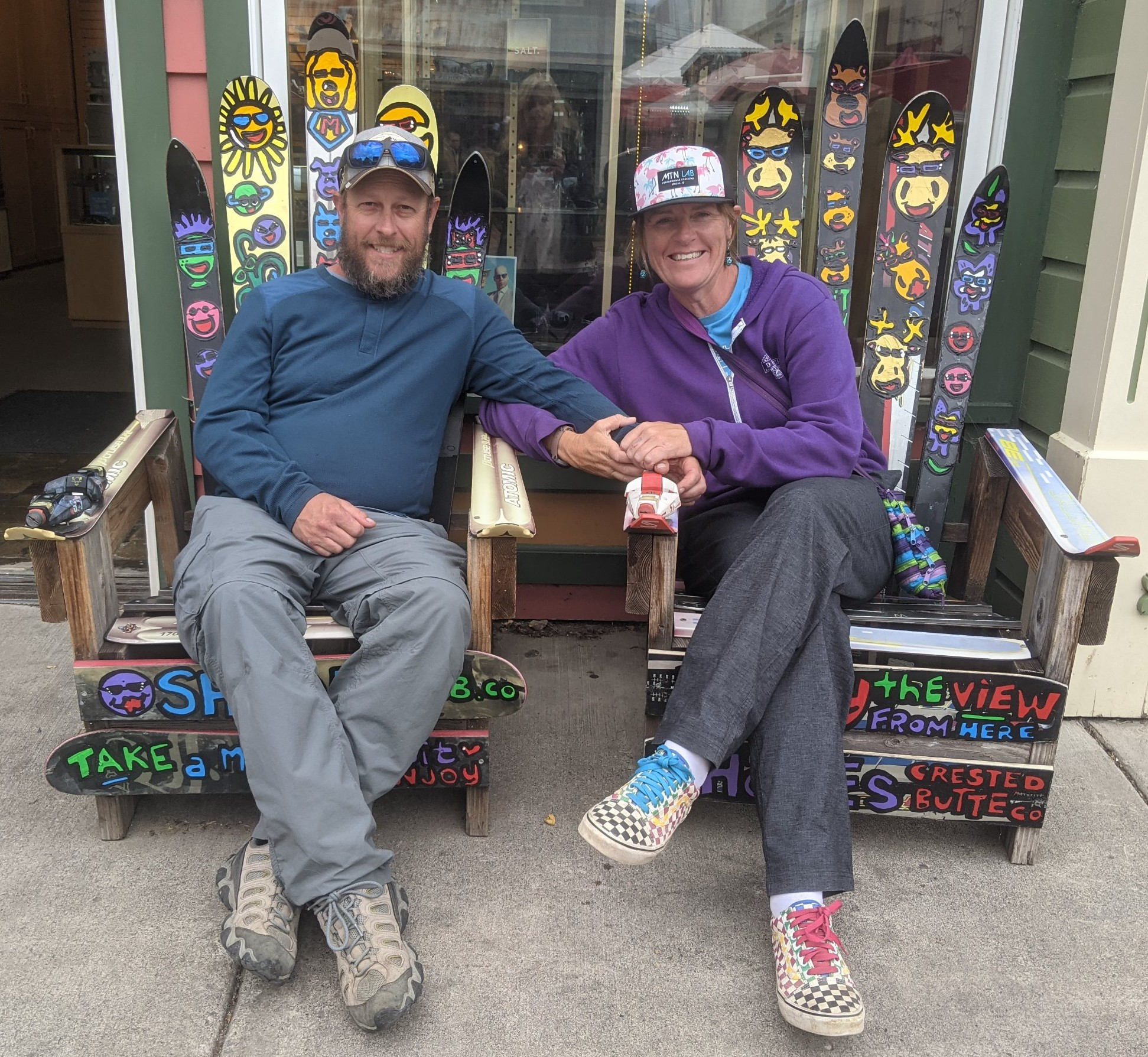 Laurel Darren (right) enjoys some personal time in Colorado this summer while sitting in some unique chairs with longtime boyfriend Brett.