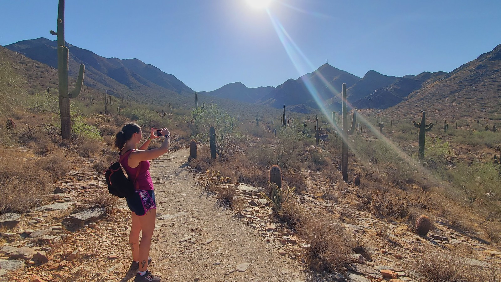 A woman hiker pauses in the bright sunshine to take a picture of the beautiful scenery during one of the Scottsdale hiking tours from the Wild Bunch Desert Guides.