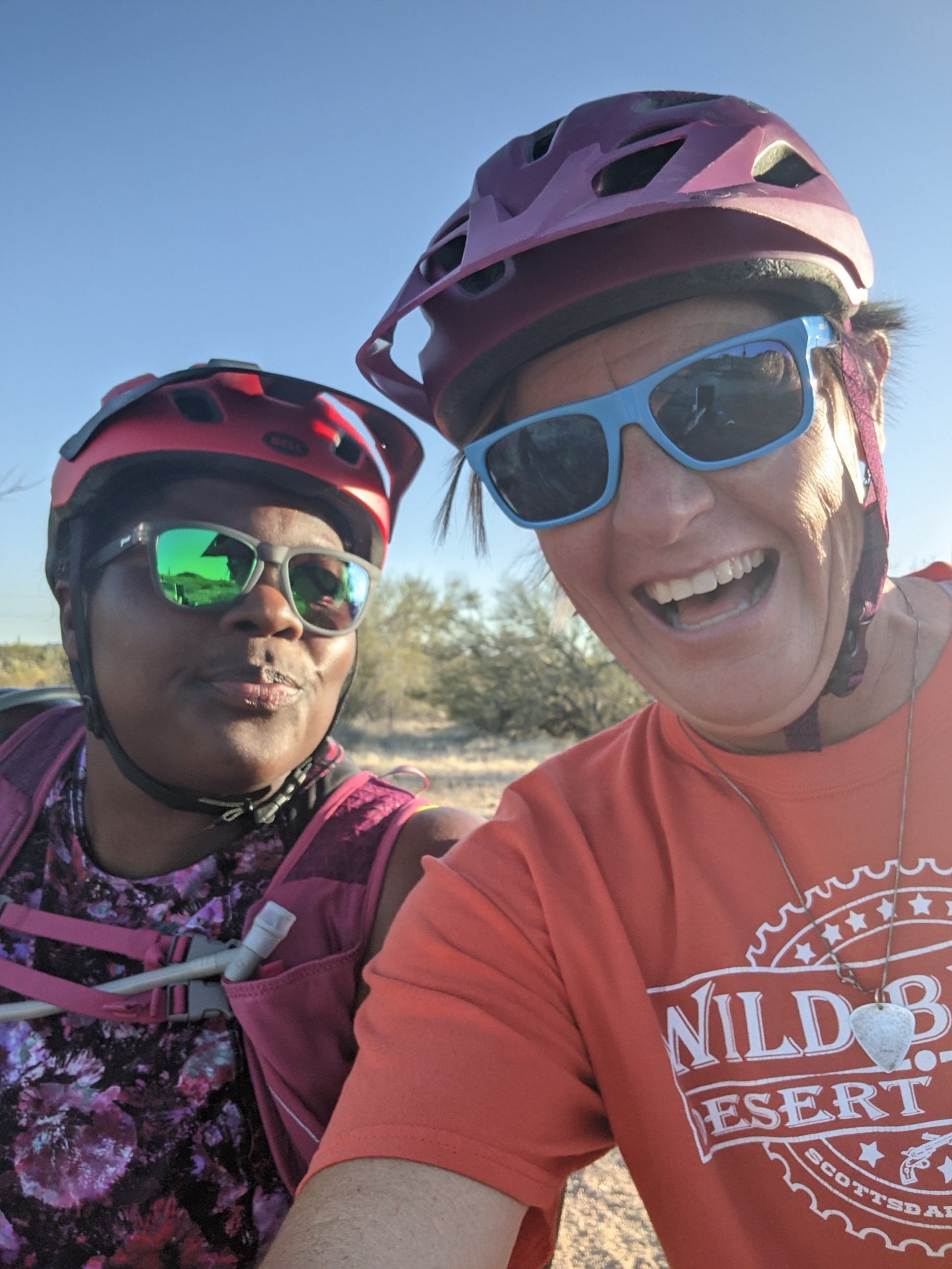 The Mirnavator (left) and Laurel Darren have their helmets on and are ready for their first mountain bike ride together.